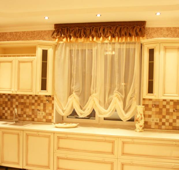 Дизайн штор на кухню тюль